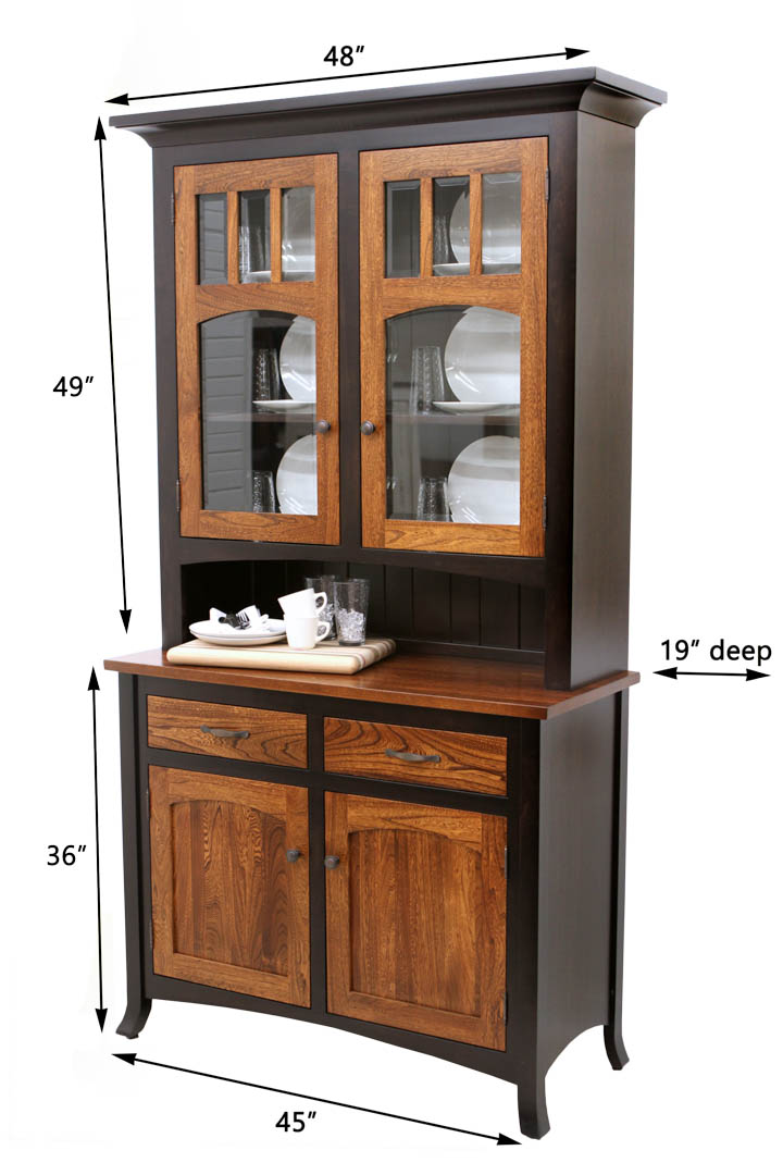 2 door biltmore hutch dutch craft furniture for Dining room hutch dimensions
