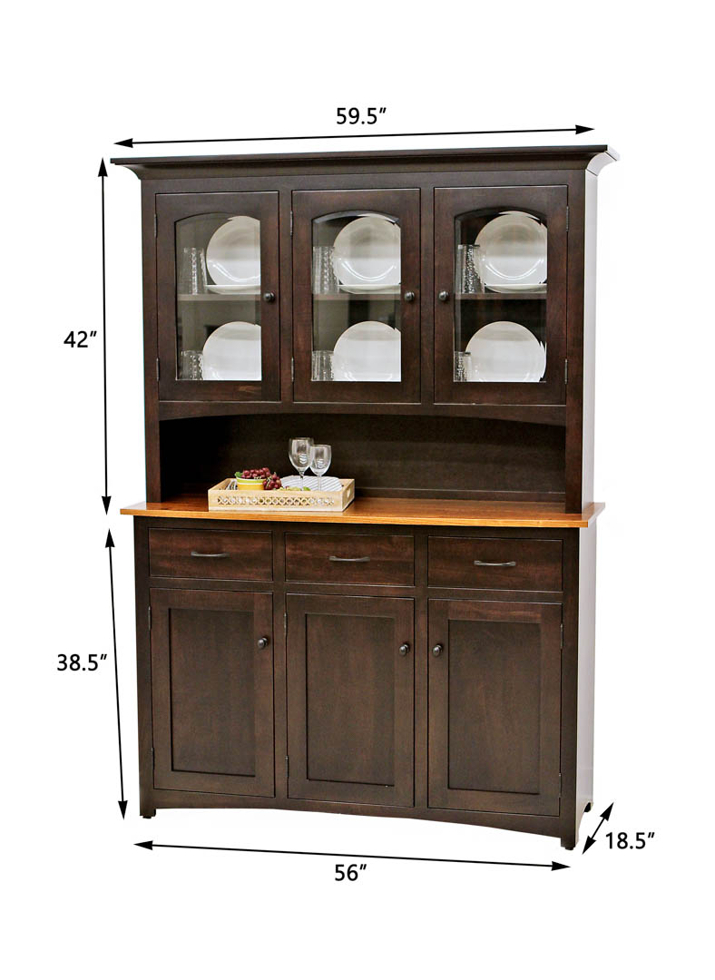 3 door carlisle hutch dutch craft furniture for Dining room hutch dimensions