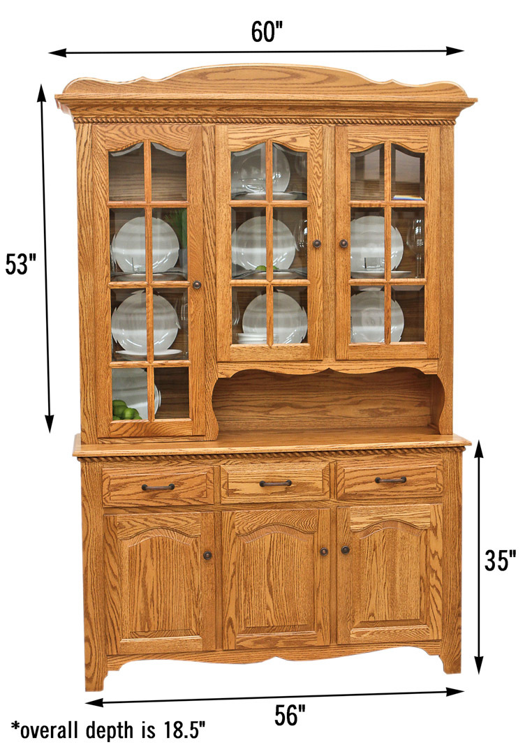 3 door katie 39 s hutch dutch craft furniture for Dining room hutch dimensions