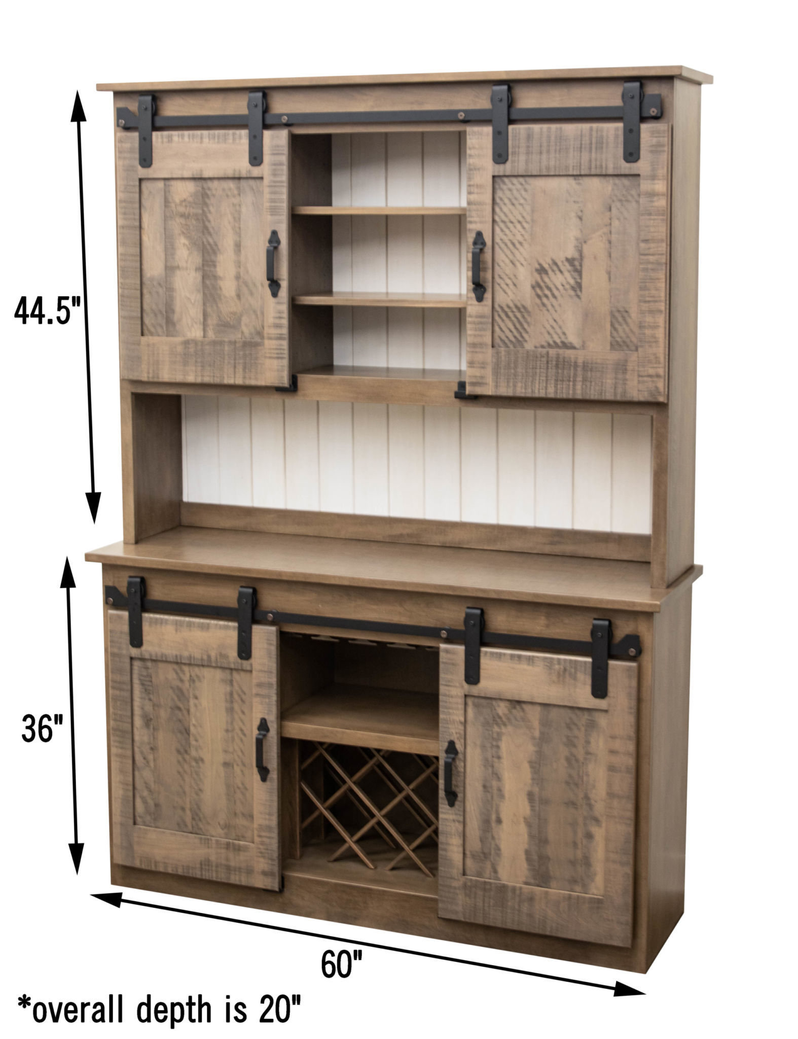 Barn door hutch dutch craft furniture for Dining room hutch dimensions