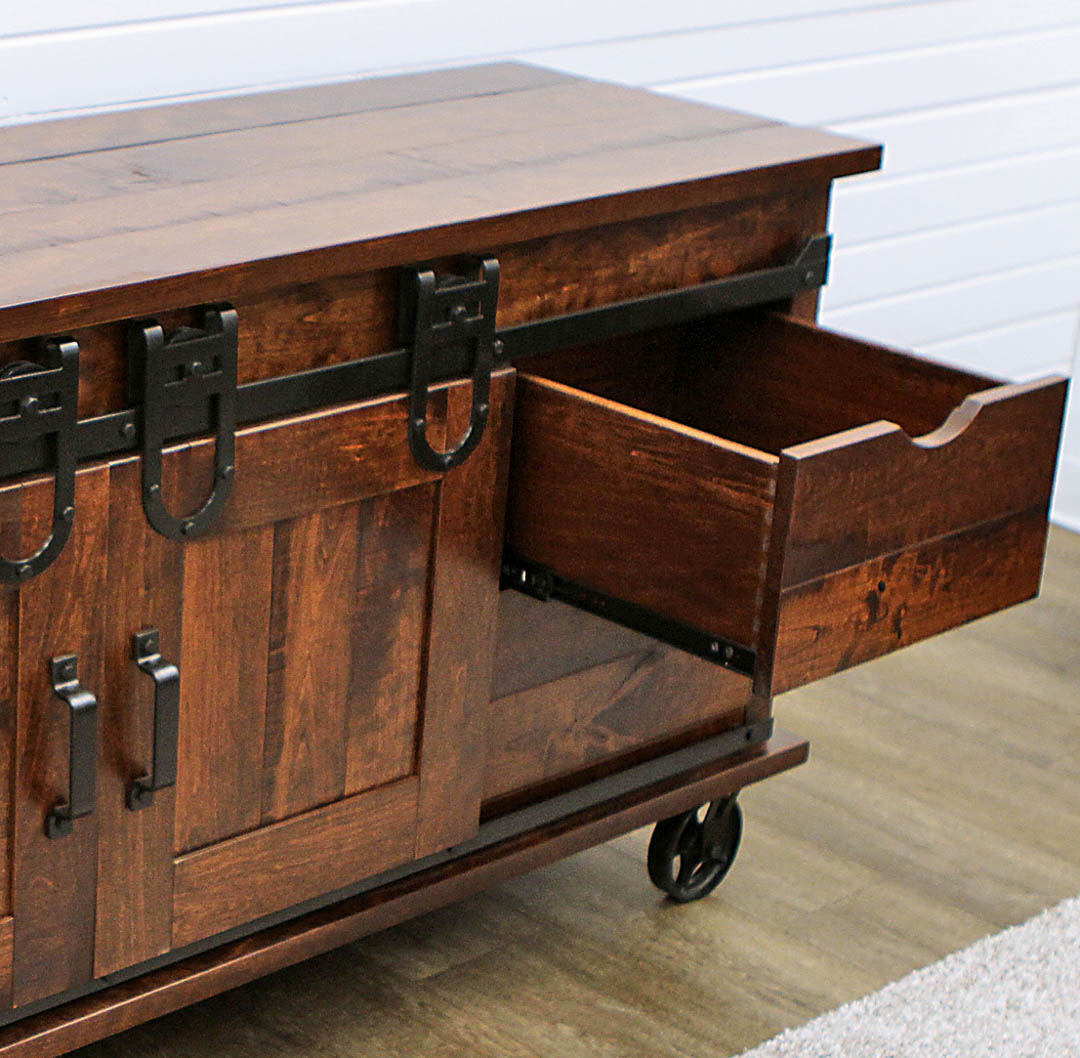 "60"" Cherry Barn Door TV Cart 