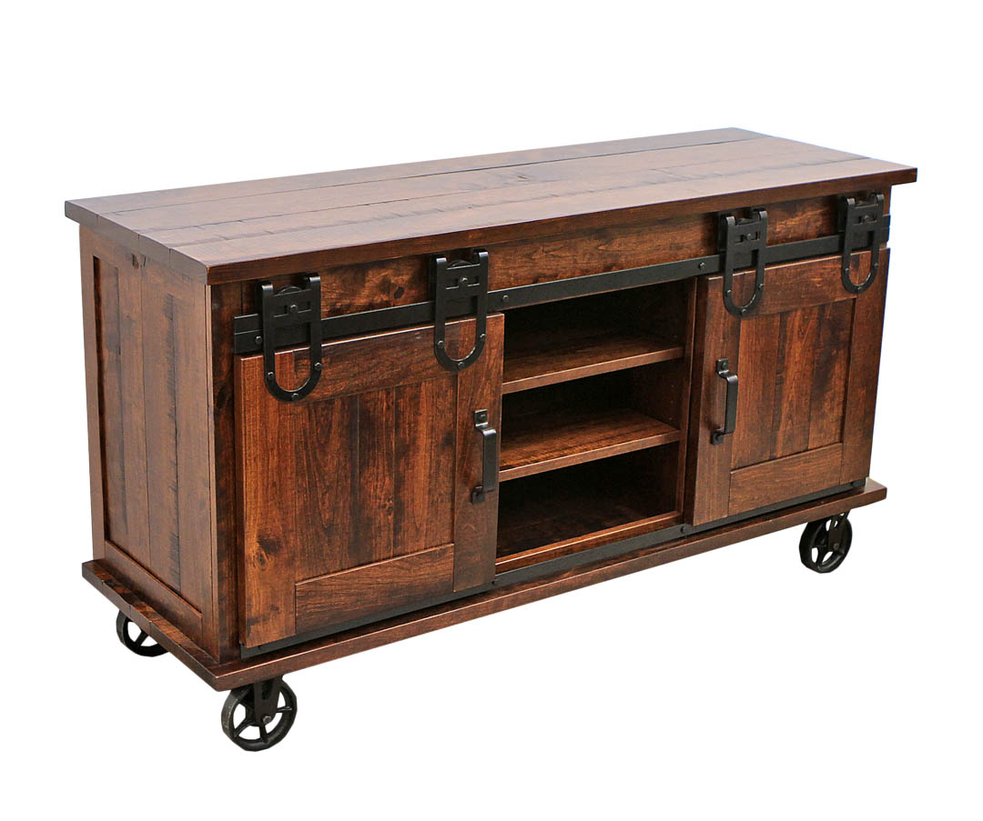 60 Cherry Barn Door Tv Cart Dutch Craft Furniture
