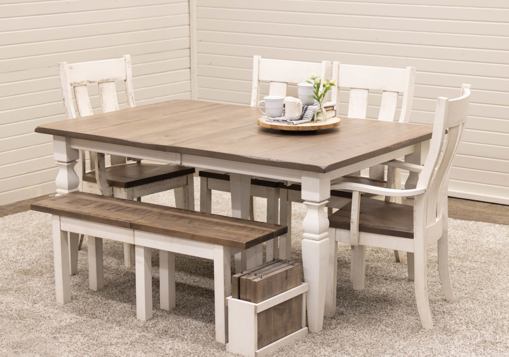 Cottage Dining Table with 9 Bench & 9 Urbana…   Dutch Craft Furniture