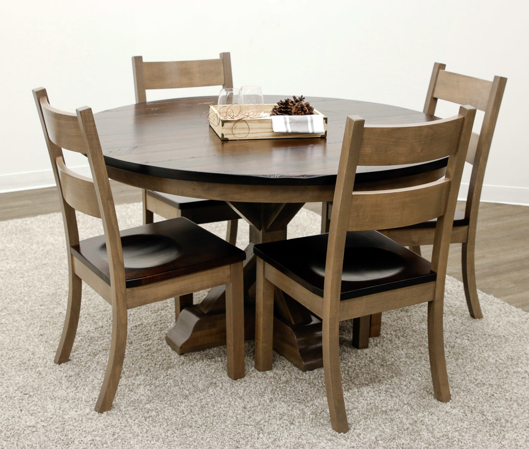 Exceptional Dakota Single Pedestal Table With 4 Western Chairs