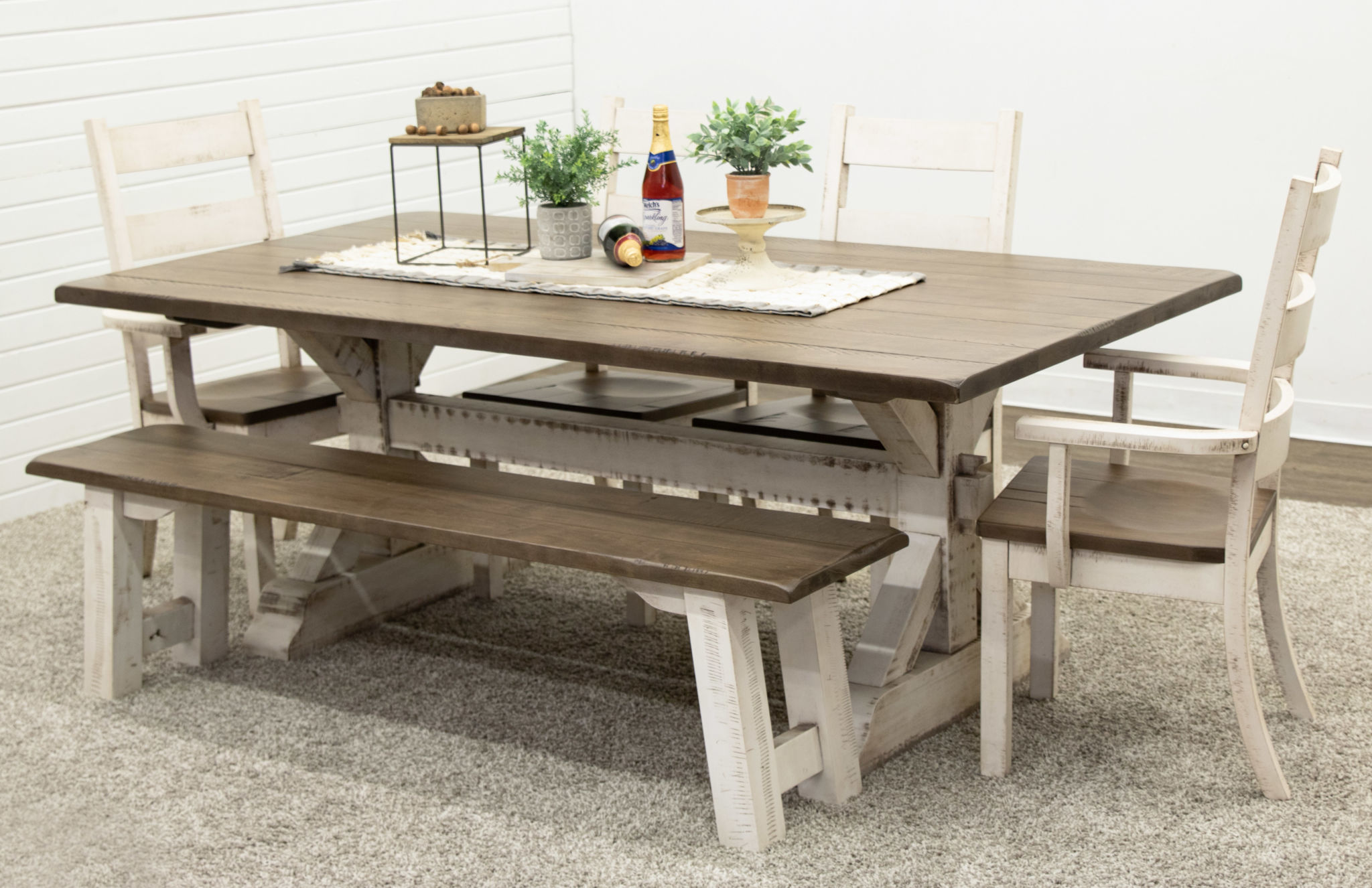 Picture of: Coastal Farm House Trestle Table With 1 Bench Dutch Craft Furniture