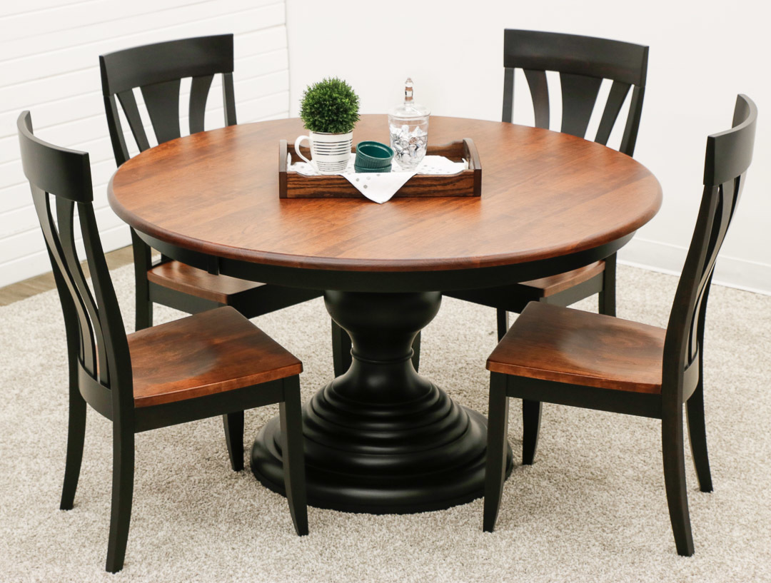 Mc Global Pedestal Table With 4 Hudson Chairs Dutch Craft Furniture