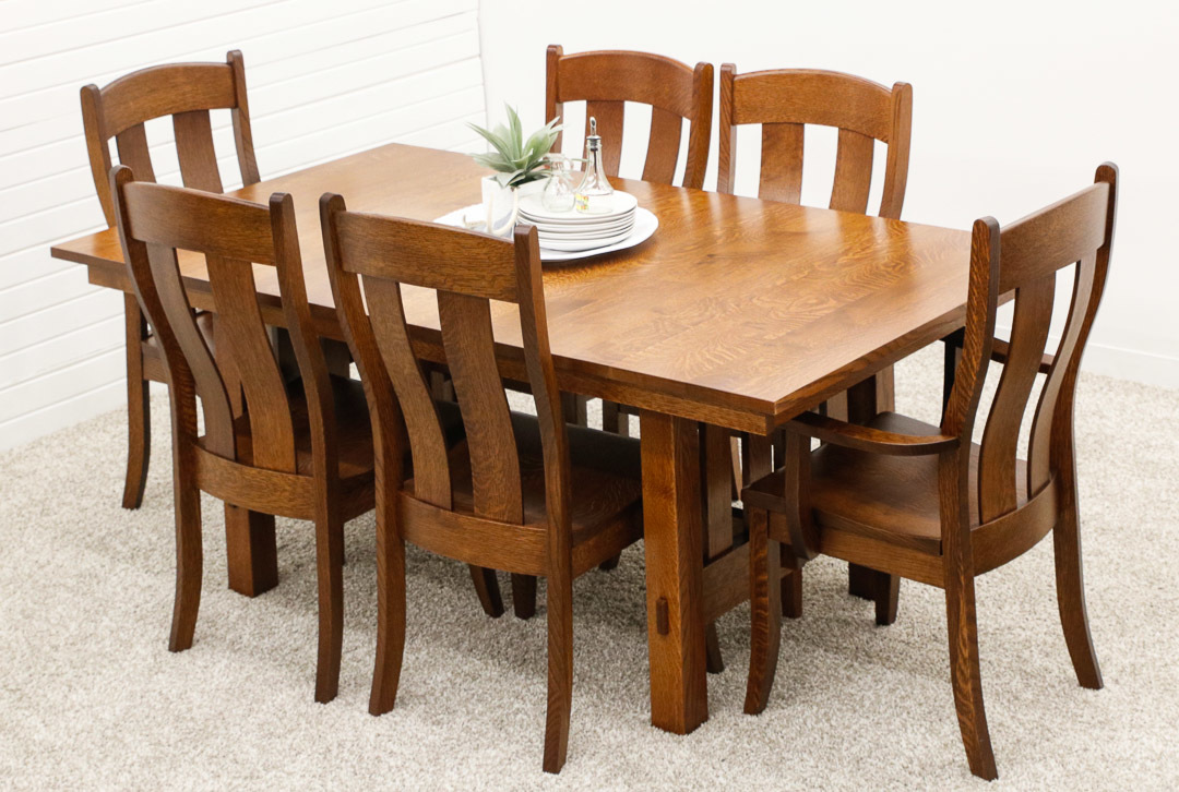 Heavy Mission Trestle Table With 6 Austin Chairs