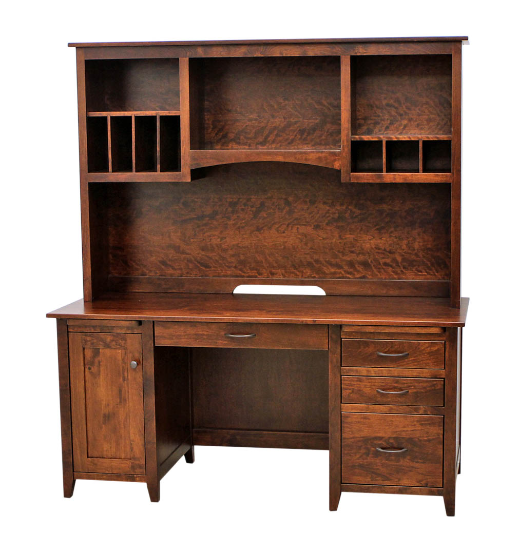 Manhattan Flat Wall Desk With Hutch Top Dutch Craft