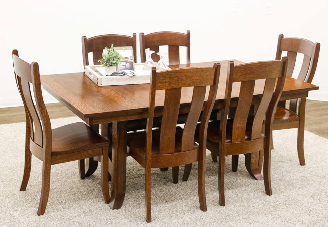 Shaker Hill Trestle Table With 6 Austin Side Dutch Craft Furniture