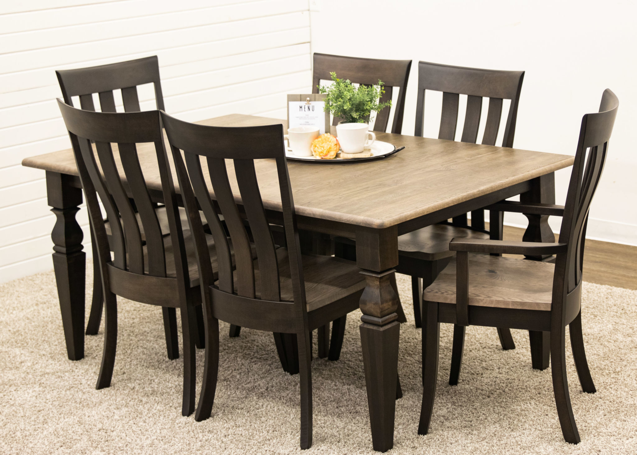 Turned Shaker Square Cam Table with 9 Curlew…   Dutch Craft Furniture