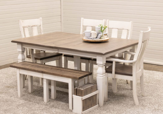 Cottage Dining Table with 1 Bench & 4 Urbana Chairs