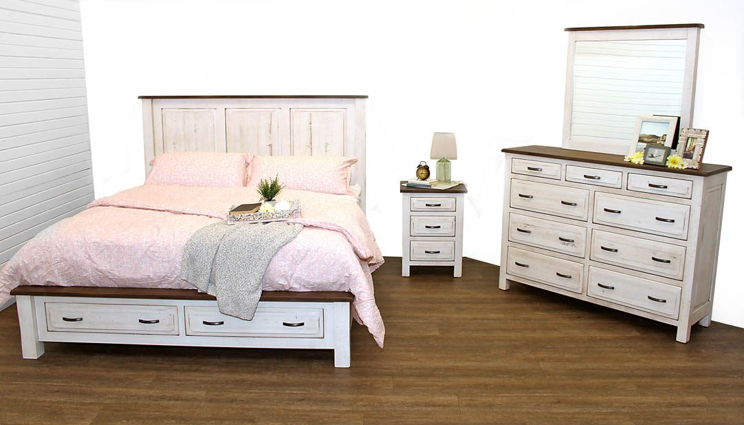 Savannah Bedroom Set Shown In Brown Maple Wood With Coastal White Paint And  DC Driftwood Stain