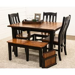 Elm Easton Settler's Table with 3 Fostoria Chairs & 1 Bench