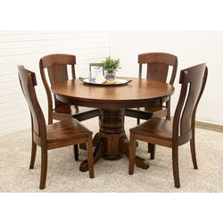 Traditional Single Pedestal Table with 4 Kowan Side Chairs