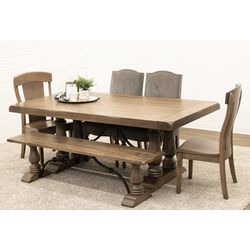 Alexandria Dining Table with 2 Kowan Chairs, 2 Shreveport Chairs & 1 Alexandria Bench
