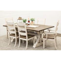 Farm House Trestle Table with 6 Western High Back Chairs