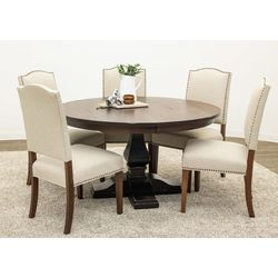 "54"" Round Hillside Single Pedestal Table with 5 Emerson Chairs"