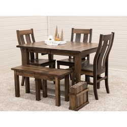 Cocoa Shaker Leg Table with 3 Arlington Side Chairs & Extend-A-Bench