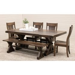 Auburn Trestle Table with 4 Jasper Side Chairs & Bench