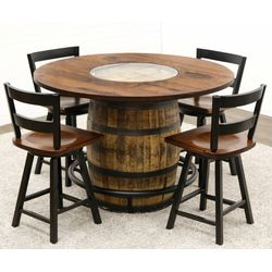 Whiskey Single Barrel Table with 4 Post Mission 2-Slat Bar Chairs