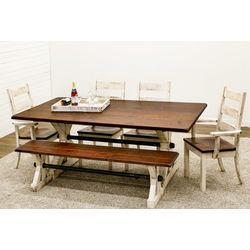 Western Trestle Dining Table with 4 Western High Back Chairs & 1 Bench