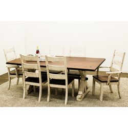 Western Trestle Dining Table with 6 Western High Back Chairs