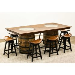 Whiskey Double Barrel Table with 8 Saddle Stools