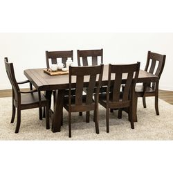 Maple Settler's Trestle Table with 6 Urbana Chairs