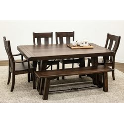 Maple Settler's Trestle Table with 4 Urbana Chairs and 1 Bench